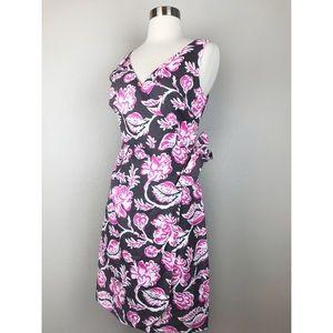 Boden Women's Linen Wrap Pink Floral Print Dress